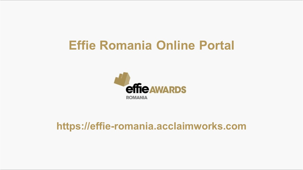 Effie Romania Online Portal - Start Entries 2020
